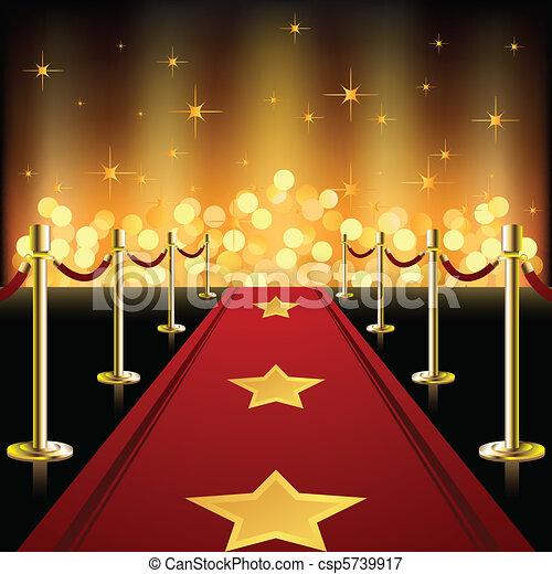 אדום, כוכבים, שטיח - csp5739917
