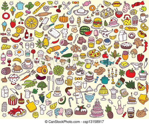 אוכל, גדול, אוסף, מטבח - csp13158917