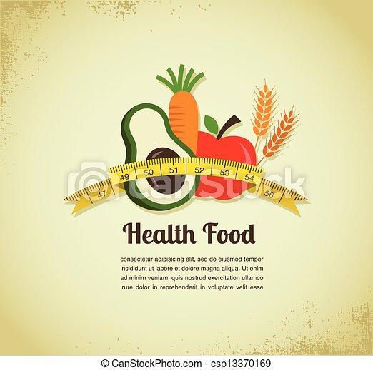 אוכל, וקטור, בריאות, רקע - csp13370169