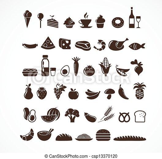 אוכל, יסודות, איקונים - csp13370120