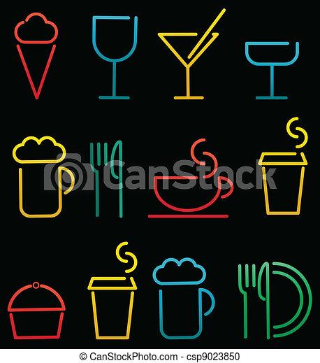 אוכל, משקה, קבע, צבעוני - csp9023850