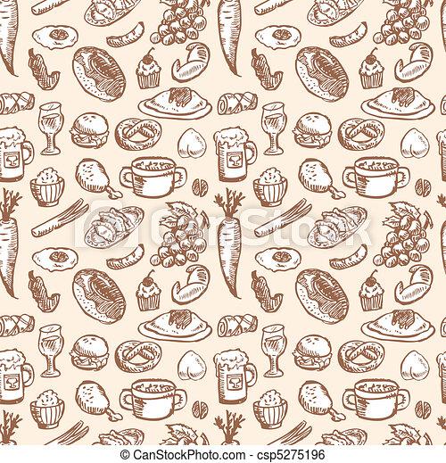 אוכל, תבנית, seamless - csp5275196