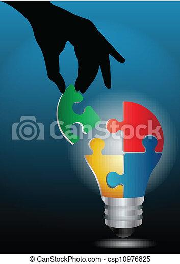 אור, דמות, העבר, וקטור, בן אנוש, נורת חשמל, בלבל, להצטרף - csp10976825