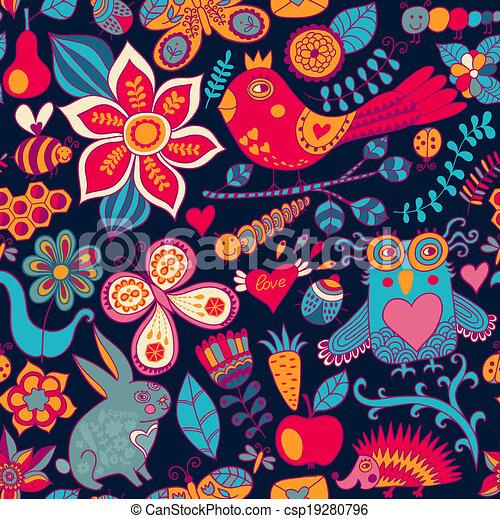 או, hedgehog., קיץ, template., רקע., pattern., יער, רקע, טקסטורות, רשת, תבנית, שפן, עמוד, פרפר, seamless, וקטור, רקע, design., נייר, זה, ינשוף, מארג, פרחוני, התגלה, התמלא, השתמש - csp19280796