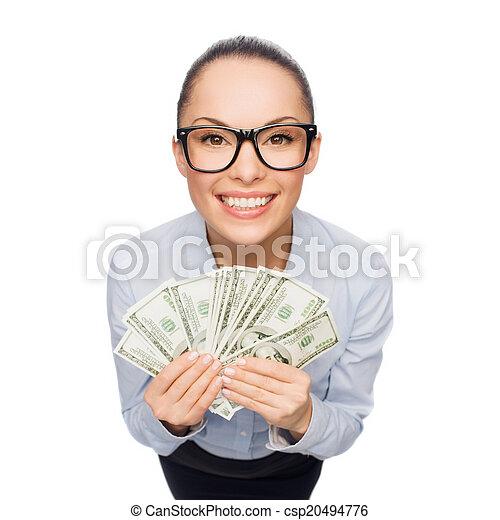 אישת עסקים, לחייך, דולר, פדה, כסף - csp20494776