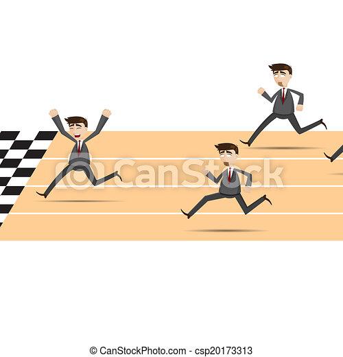 איש עסקים, לרוץ, ציור היתולי - csp20173313