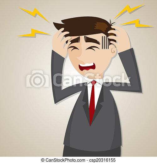 איש עסקים, ציור היתולי, כאב ראש - csp20316155