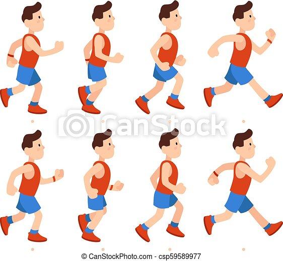 אמונית, דירה, זכר, רוץ, בחור, אתלטי, sequence., דוגמה, ציור היתולי, רץ, לרוץ, וקטור, אנימציות, מסגרות, רגליים, אנימציה, man. - csp59589977