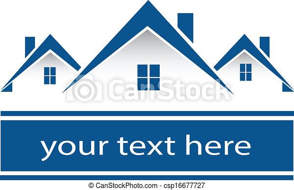 אמיתי, בתים, לוגו, רכוש - csp16677727