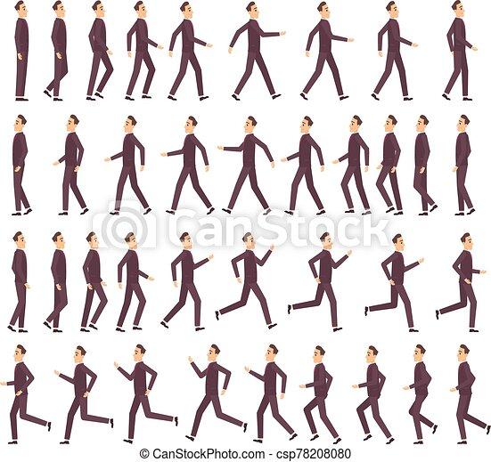 אנימציה, דירה, מהיר, לרוץ, וקטור, אופי, דיוקן, משחק, 2d, איש עסקים, ציור היתולי, keyframe, הבט, שדון, תמוך, man. - csp78208080