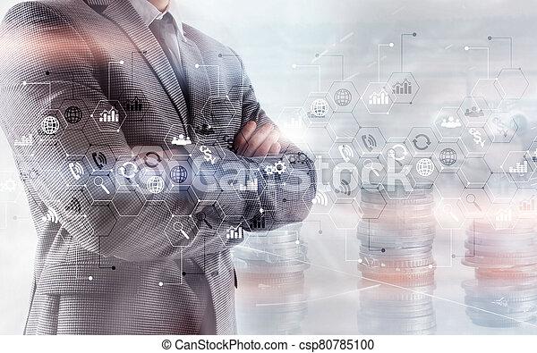 אסטרטגיה, עסק, marketing., חשיפה, לוח, מושג, שלוט, כפיל, ממן, להחליף, אחסן - csp80785100