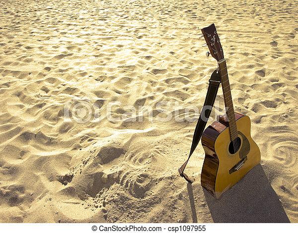בהיר, גיטרה, אקוסטי, החף - csp1097955