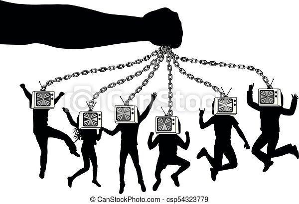 בובות, דחוס, chains., מחזיק, אנשים, העבר, זומבי, tv., מחזיק, פאפפאטיר, television., איש - csp54323779