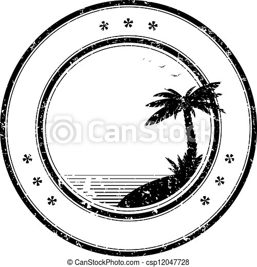 בול של גומי, עץ, טרופי, וקטור, דקל - csp12047728