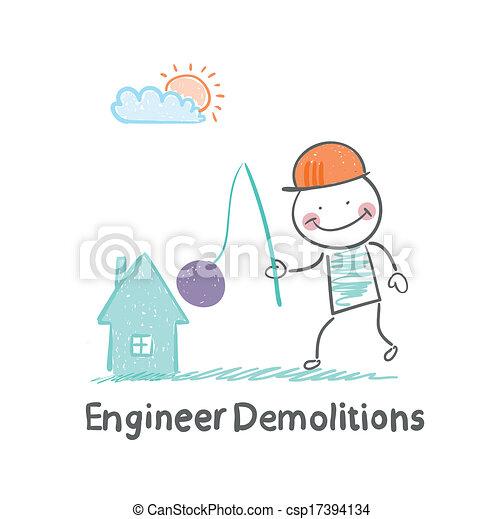 בית, הריסות, הנדס, משמיד - csp17394134