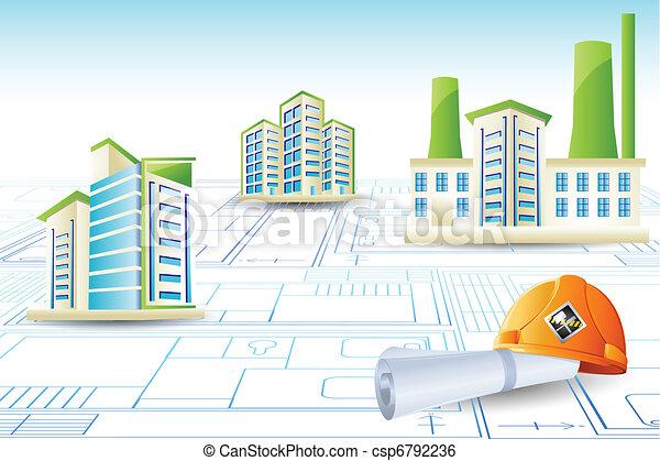 בנין, כחול מדפיס - csp6792236