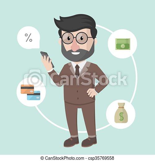 בנקאות, איש, עסק, אונליין - csp35769558