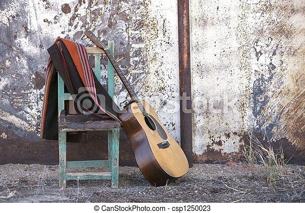 גיטרה, אקוסטי, כסא, לסמוך - csp1250023