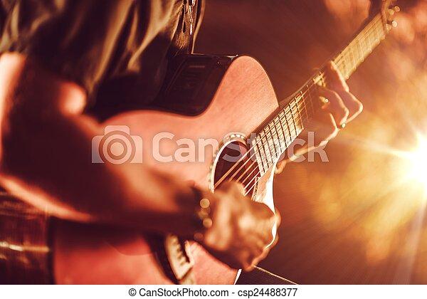 גיטרה, אקוסטי, לשחק - csp24488377