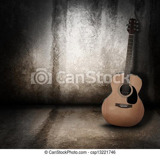 גראנג, אקוסטי, רקע, מוסיקה, גיטרה - csp13221746