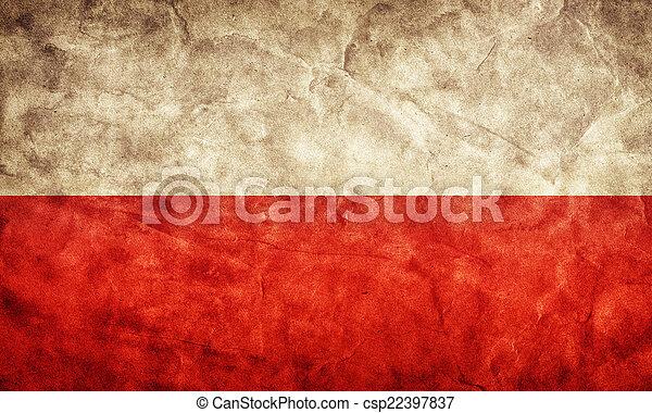 גראנג, flag., פולין, בציר, פריט, דגלים, ראטרו, אוסף, שלי - csp22397837