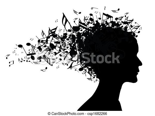 דמות, אישה, צללית, מוסיקה - csp1682266