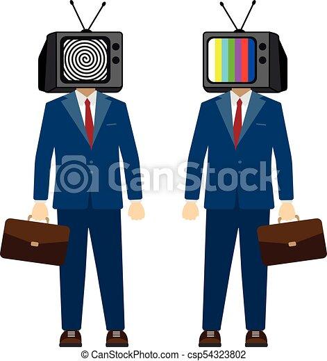 הובל, טלויזיה, אופי, פרופגנדה, vector., מזויף, איש עסקים, news., טלוויזיה, man. - csp54323802