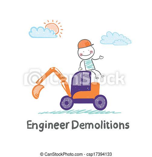 הריסות, יושב, חופר, הנדס - csp17394133