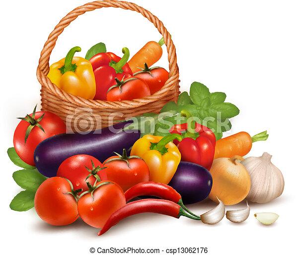 וקטור, בריא, ירקות, דוגמה, אוכל., basket., רקע, טרי - csp13062176
