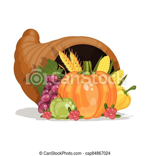 וקטור, דוגמה, קרן, cornucopia., הודיה, harvest., day., plenty., ציור היתולי - csp84867024