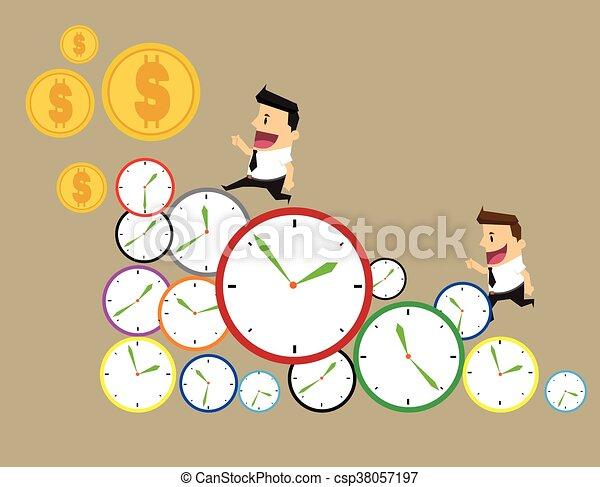 זמן, יום, עסק, איש עסקים, דרך, clocks, time., רוץ, שיט, מהר - csp38057197