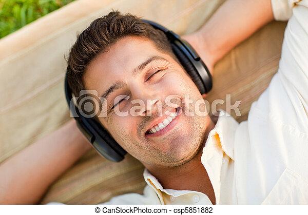 חנה, מוסיקה, איש, להקשיב, צעיר - csp5851882