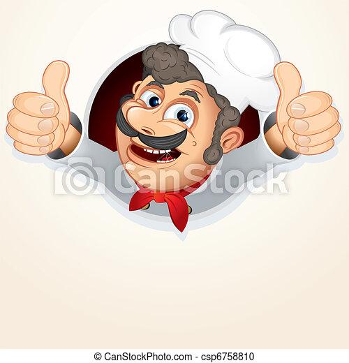 טבח, בשל, להראות, בוהן - csp6758810