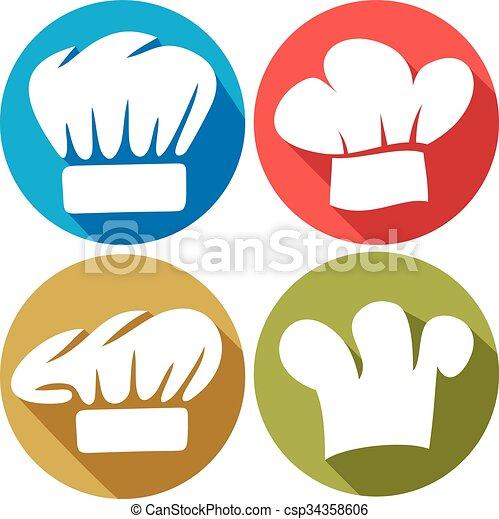 טבח, דירה, כובע, איקונים - csp34358606