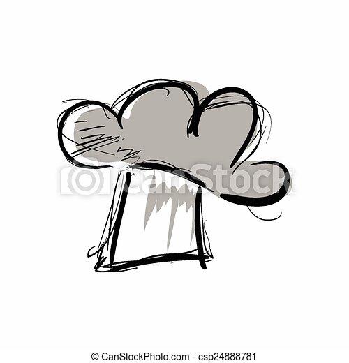טבח, סיגנון, כובע, לבן, ציור היתולי - csp24888781