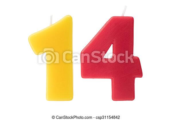 יום הולדת, ארבעה עשר, הפרד, נרות - csp31154842