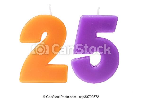 יום הולדת, 25th, הפרד, נרות - csp33799572