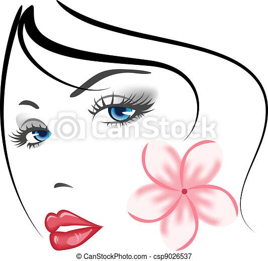 ילדה, צפה, יופי - csp9026537