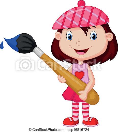 ילדה קטנה, פיקחות, לצבוע, ציור היתולי - csp16816724