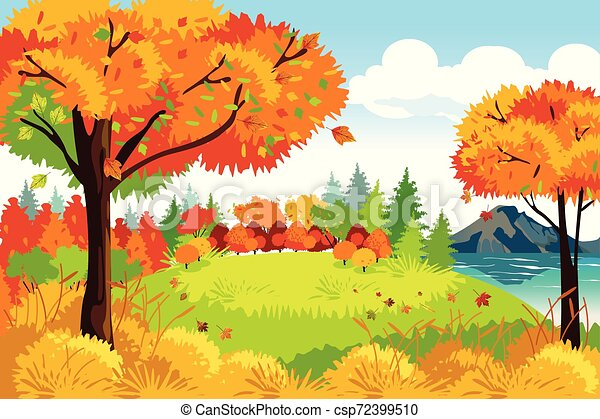 יפה, טבע, תבל, דוגמה, סתו, רקע, נפול, או, נוף - csp72399510