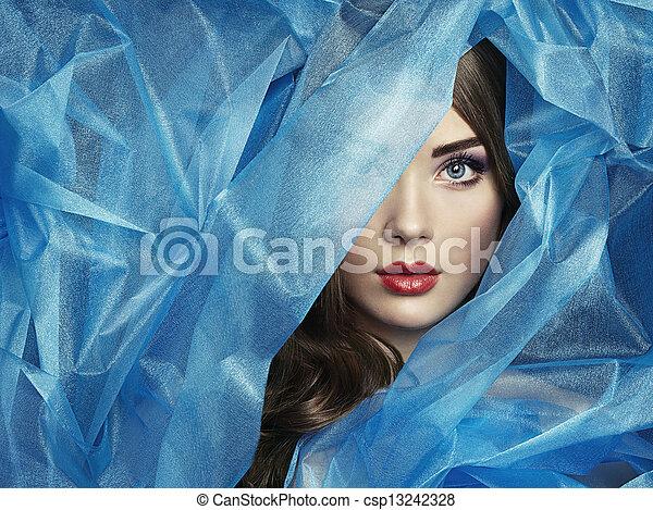 יפה, כחול, עצב, צילום, מתחת, צעיף, נשים - csp13242328