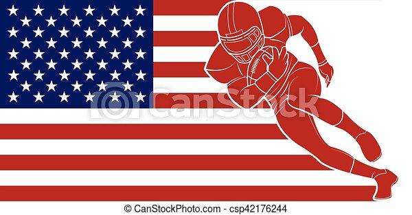 כדור, כדורגל, לרוץ, רקע., דגלל, אמריקאי - csp42176244