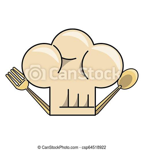 כובע של טבח, ציור היתולי - csp64518922