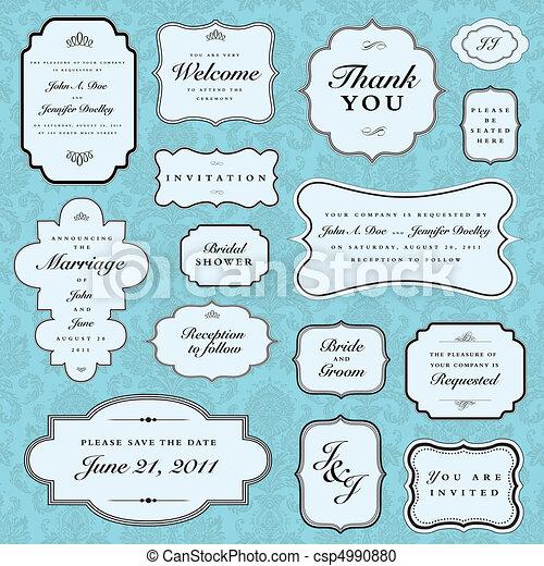 כחול, הסגר, וקטור, קבע, חתונה - csp4990880
