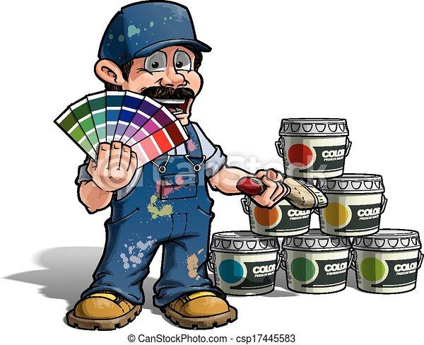 כחול, מתקן כל דבר, צבע, -, מדים, לבחור, צייר - csp17445583