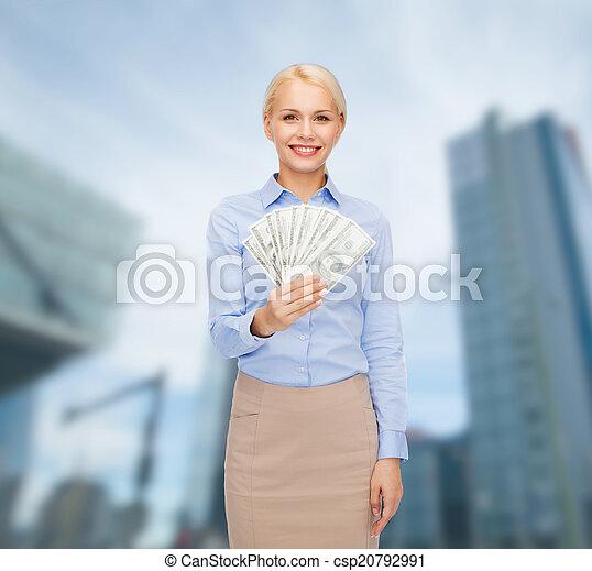 כסף, אישת עסקים, דולר, צעיר, פדה - csp20792991