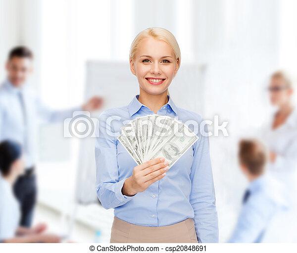 כסף, אישת עסקים, דולר, צעיר, פדה - csp20848691