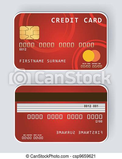 כרטיס אשראי, fro, אדום, מושג, בנקאות - csp9659621