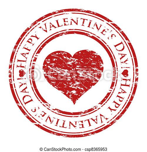 לב, גראנג, ולנטיין, ביל, טקסט, בתוך, הפרד, גומי, stamp), כתוב, וקטור, (happy, רקע, מאייר, לבן, יום - csp8365953