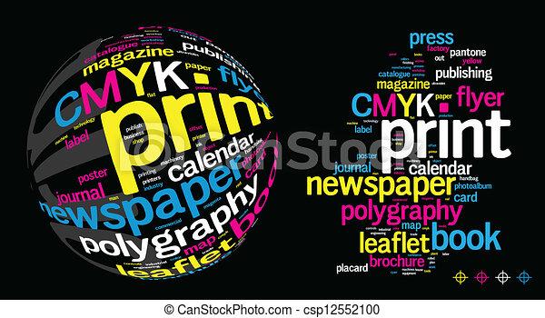 להדפיס, מילה, ענן - csp12552100